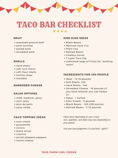 Planning a taco bar for graduation parties and get togethers is a fun and economical way to serve your guests. Here's my taco bar checklist!