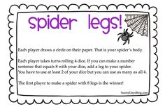 Sunny Days in Second Grade: Spider legs math game Teacher Freebies, Classroom Freebies, Math Classroom, Classroom Ideas, Classroom Organization, Math Resources, Math Activities, Fun Math, Educational Activities