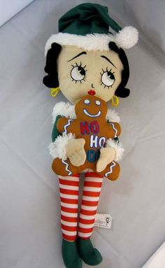 Betty Boop Christmas Soft Doll Sugar Loaf 2012 Embroider Face with Gingerbread #DollswithClothingAccessories