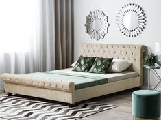 Elevate your bedroom with this unique luxury bed. An elegant rolled headboard and a low front complete the chic silhouette of the frame. The bed is ma Velvet Headboard, Leather Headboard, Upholstered Bed Frame, Upholstered Ottoman, Chesterfield, Superking Bed, Ottoman Bed, Look Vintage, Vintage Modern