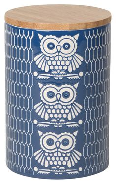 Owl motif stoneware canisters are by Now Designs a brand based in Vancouver, Canada that offers everyday functional kitchen . Owl Kitchen, Kitchen Dining, Kitchen Decor, Owl Who, Owl Quilts, Owl Bags, Felt Owls, Owl Pictures, Art Deco Posters