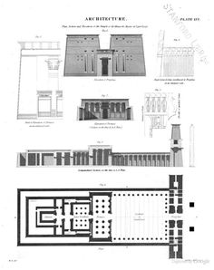 Plan, Section and Elevations of the Temple of Apollinopolis Magna in Upper Egypt Architecture Panel, Architecture Student, Architecture Drawings, Classical Architecture, Life In Ancient Egypt, Ancient Egyptian Tombs, Ancient Egypt Architecture, Elevation Plan, Architectural Section