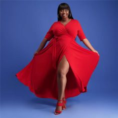 Enjoy silhouette simplicity wearing this stylish LeeBex Wrap Around Maxi Dress. This lightweight dress features a solid red colorway, and a modest longer l Denim Dungarees, Grad Dresses, Wrap Around, Dress Red, Curvy, Skinny, Stylish, How To Wear, Fashion