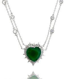 colar corrente tiffany com pingente de coracao verde