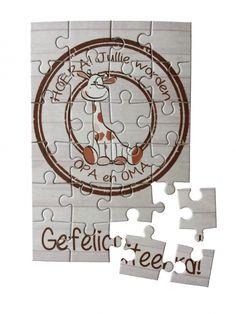 """Puzzel Girafje """"Jullie worden OPA en OMA"""""""