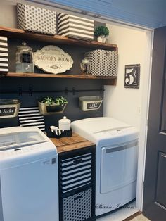 laundry room black and white Laundry Room Remodel, Laundry Decor, Laundry Room Organization, Laundry Room Design, Laundry Area, Laundry Closet, Organizing, Laundy Room, Laundry Room Inspiration