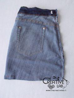 tutorial riciclare jeans fare borsello tracolla fai da te diy 12