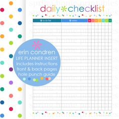 DAILY CHECKLIST, Erin Condren, Life Planner, Erin Condren Insert, ECLP Printable, Planner Printable, To Do List, Instant Download, 7 x 9 by SpringHomePrintables on Etsy