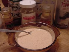 Bloomin' Onion Dipping Sauce - It's pungent but goes well with the Blooming Onion I have posted here. I bet it'd be good on a roastbeef sandwich! Bloomin Onion Sauce, Sauce Recipes, Cooking Recipes, Copycat Recipes, Outback Recipes, Dip Recipes, Yummy Recipes, Onion Petals, Beer Batter