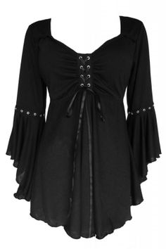 (1416) Gothic Corsage Tunika festliche Bluse USA Schwarz Ophelia Black