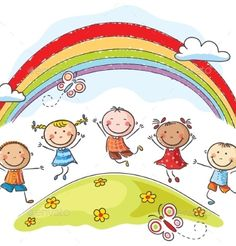 Illustration of Happy kids jumping with joy on a hill underneath a rainbow vector art, clipart and stock vectors. Cartoon Kids, Cute Cartoon, Art Hipster, Grace Ciao, Illustration Art Nouveau, Art Simple, School Murals, Kids Church, Kids Corner
