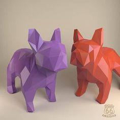 French Bulldog Paper Dog Papercraft Bulldog Paper Animals