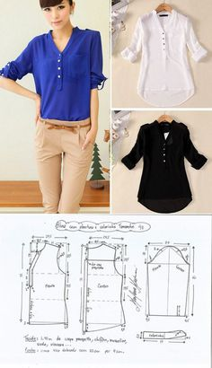 Trendy Sewing Blouse Tutorial How To Make Ideas Sewing Dress, Dress Sewing Patterns, Blouse Patterns, Sewing Patterns Free, Clothing Patterns, Blouse Sewing Pattern, Sewing Diy, Sewing Tutorials, Costura Fashion