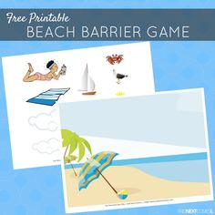 Free printable beach themed barrier game for speech therapy - great for kids with autism and hyperlexia from And Next Comes L Speech Therapy Themes, Therapy Games, Speech Language Pathology, Speech Therapy Activities, Language Activities, Educational Activities, Speech And Language, Learning Activities, Articulation Activities