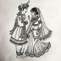 another indian bride and groom pattern i designed today for bridal