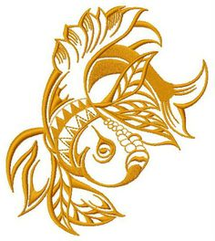 Grumpy Golden Fish 2 Embroidery Design
