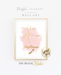 Sagittarius Print, GOLD ARTWORK, Foil Art Print, Sagittarius Constellation Print, Astrological Sign, Libra, Cancer,Leo, Virgo, Aries, Gemini by TheDigitalStudio on Etsy