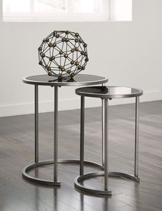 Metal And Glass Nesting End Tables