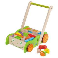 De eerste stapjes proberen te zetten met dit hulpmiddel, en als hij of zij het even heb gehad met lopen, gaan ze lekker zitten op de grond en wat leuks bouwen. Afmeting : 29 x 46 x 38 cm. Leeftijd 12 maand+