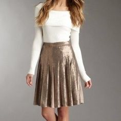 BCBG MAXAZRIA sequin pleated skirt Fully sequined down the outside of each pleat. Gorgeous and flowy. BCBGMaxAzria Skirts A-Line or Full