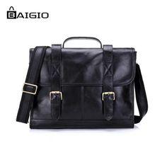 "82.62$  Buy now - http://alizuz.worldwells.pw/go.php?t=32528895359 - ""Baigio Mens Bag Leather Briefcase 14"""" Laptop Bag Vintage Black Brand Designer Leather Men Messenger Bags Tote Shoulder Mens Bag"""