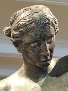 "Apollo (""Sauroctonos"") bronze - detail, attribuated. to Praxiteles, 4th century BCE, Greece. (Cleveland Museum of Art)."