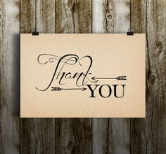Instant Download-Rustic Thank You Arrows Vintage Aztec Chic DIY Printable Elegant Wedding Bridal Baby Shower Birthday Gift Thank You Card