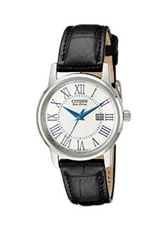 Citizen Women's EW1568-04A Eco-Drive Stainless Steel Watch with Black Genuine Leather Band Check https://www.carrywatches.com