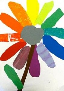 A fun way to teach the color-wheel and use up your end-of-the-year paper scraps.