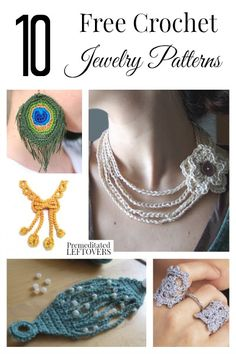 Jewelry OFF! Who knew that you could make elegant jewelry from yarn? You can with these 10 free crochet jewelry patterns from bracelets to necklaces and even rings! Crochet Jewelry Patterns, Crochet Necklace Pattern, Crochet Bracelet, Crochet Accessories, Crochet Earrings, Crochet Jewellery, Beading Patterns, Crochet Metal, Knit Or Crochet