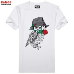 Best price on Cool Creative T-shirts Funny Owl Print //    Price: $ 15.90  &…