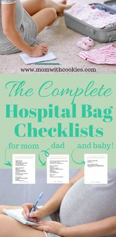 The ultimate hospital bag checklist for mom. and baby! Plus, a free printable checklist! Hospital Bag Checklist, Dad Hospital Bag, Baby Checklist, Baby Kicking, After Baby, Baby Hacks, Baby Tips, Baby Ideas, Pregnant Mom
