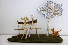 Au parc - figurines en ficelle et papier