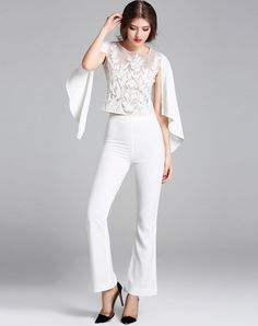#VIPme White Two Piece Embroidered Top Plain High Waist Trumpet Pants. Get more fashion inspiration at VIPme.com.