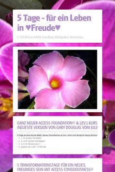 5 Tage - für ein Leben in ♥Freude♥ in A-8071 Grambach  1.-5.10.2014 BARS, Foundation & Lev.1