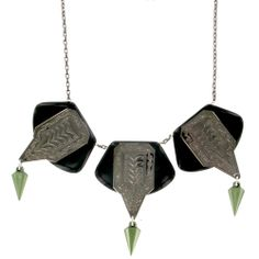 EMERALD PRETTY BLACK THORN TRIPLE PENDANT NECKLACE - Sale - TARINA TARANTINO