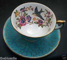AYNSLEY INTERIOR DECORATED BLUEBIRD  FLORAL AQUA BLUE TEA CUP SAUCER SET 2971