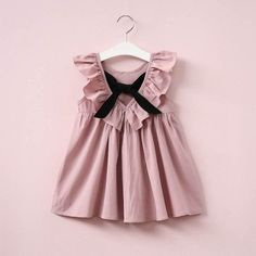 Dusty Pink Baby Girl Dress Ruffle Collar Children Clothes Backless Kids Clothes Summer Girls Dress with Bow Cute Toddler Dress Fashion Kids, Girl Fashion, Style Fashion, Fashion Clothes, Fashion Shoes, Fashion 2016, Fashion Wear, Fashion Tights, Fashion Scarves