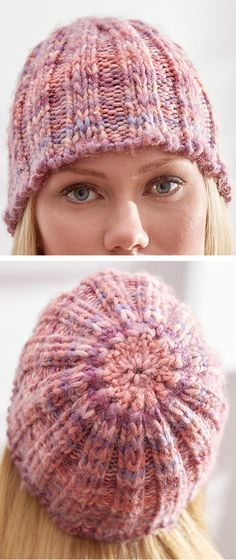 Free Knitting Pattern for 2 Row Repeat Slipped Rib Hat - This easy beanie is knit with a 2-row 5-stitch repeat that looks great in multi-color or self-striping yarn. 2 sizes. Quick knit in super bulky yarn. Designed by Erin Kate Archer for Red Heart