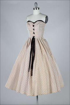 1950's Metallic Stripe Corset Dress