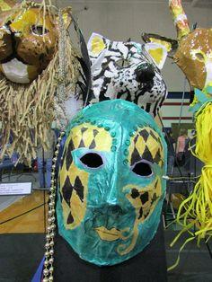 3rd grade paper mache Mardi Gras mask; lesson by art teacher: Susan Joe