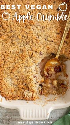 This is definitely the BEST vegan apple crumble. A million times better than the classic version, and it's naturally gluten-free and dairy-free! #veganrecipes #glutenfree #applerecipes #dessert #dairyfree thepetitecook.com Healthy Gluten Free Recipes, Vegan Recipes, Apple Recipes, Glutenfree, Dairy Free, Oatmeal, Tasty, Favorite Recipes, Times