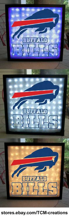 NFL, National Football League, Bufffalo Bills shadow boxes with LED lighting.