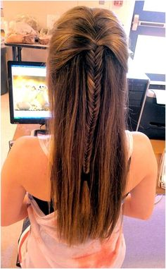 Straight Long Hair with Fishtail Braid Back View