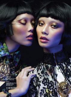 """Vantage Magazine Shanghai"" – Alice Ma and Qiu G photographed by Ruo Bing Li Beauty Video Ideas, Best Beauty Tips, Beauty Photography, Portrait Photography, Fashion Photography, Poses, Gemini, Geisha Makeup, Beauty Makeup"
