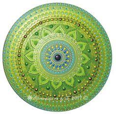 Blue-Green mandala with ancient Sun symbol Sunmandalas by Je - 2017 ( C)