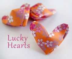 Origami Lucky Hearts my-craft-projects Origami And Kirigami, Fabric Origami, Origami Paper, Cute Crafts, Crafts For Kids, Arts And Crafts, Diy Crafts, Valentine Day Crafts, Be My Valentine