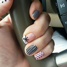 Dotted, stripes, and a bow.
