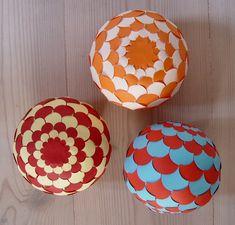 Cut Paper Folded Woven Sphere - Homemade Christmas Ornament Idea FREE Printable PDF Template