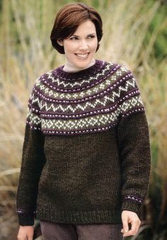 Yoke Sweater Knit in Lion Brand Wool-Ease Chunky - 1196A | Knitting Patterns | LoveKnitting